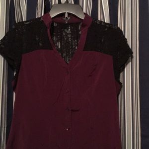 Maroon top with back netting on top